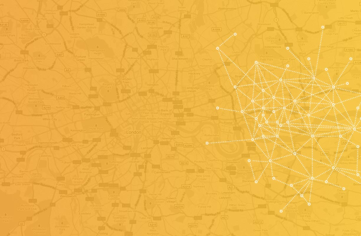 Connected dots over a map 2 | Fon