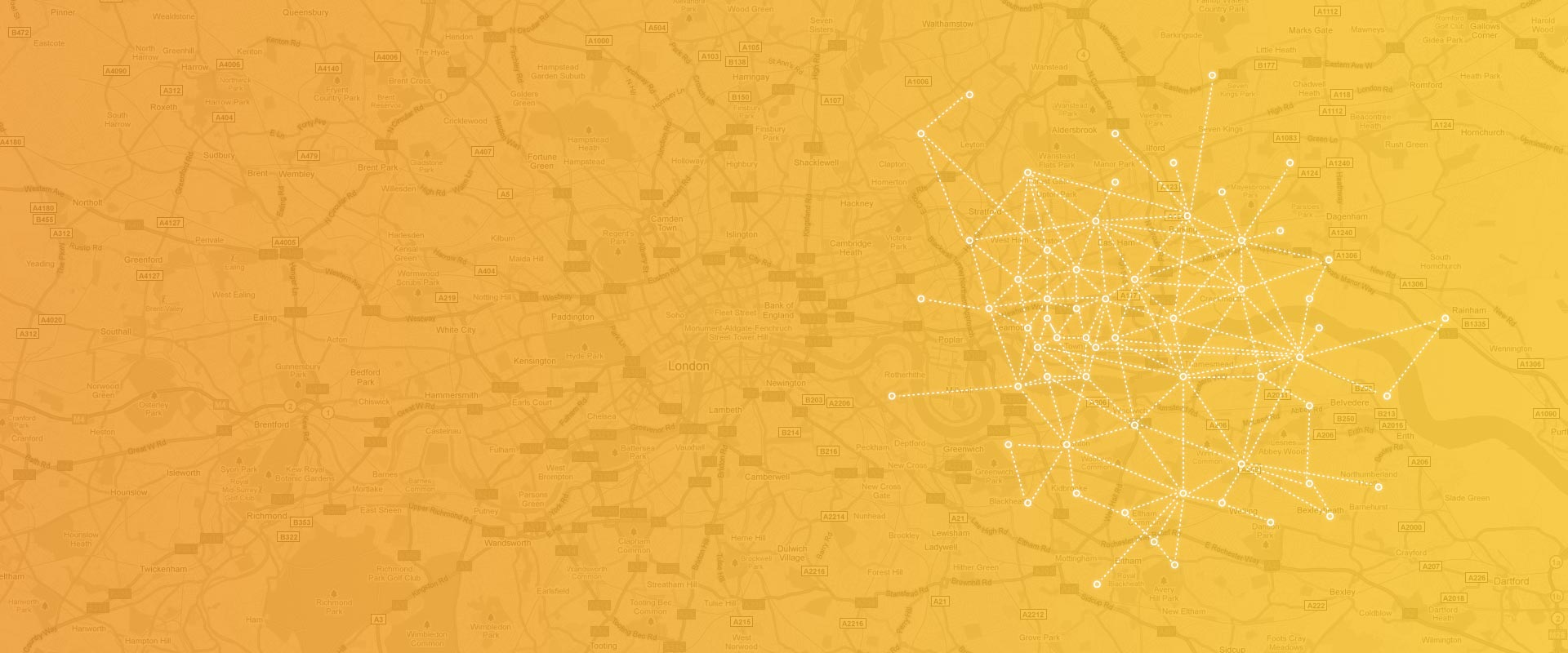Connected dots over a map | Fon