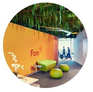 Fon office entrace with logo in a circule | Fon