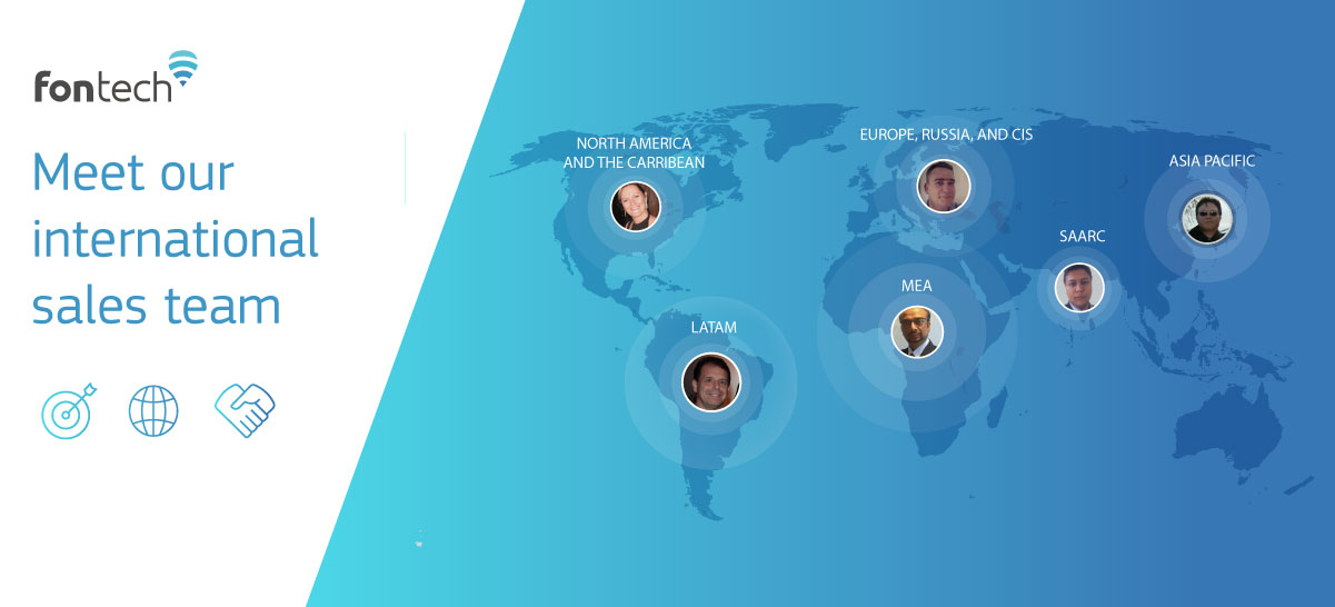 Map of the world that demonstrates the reach of Fontech's international sales team