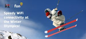 Image of skiier at Winter Olympics sponsored by Fon partner Korea Telecom