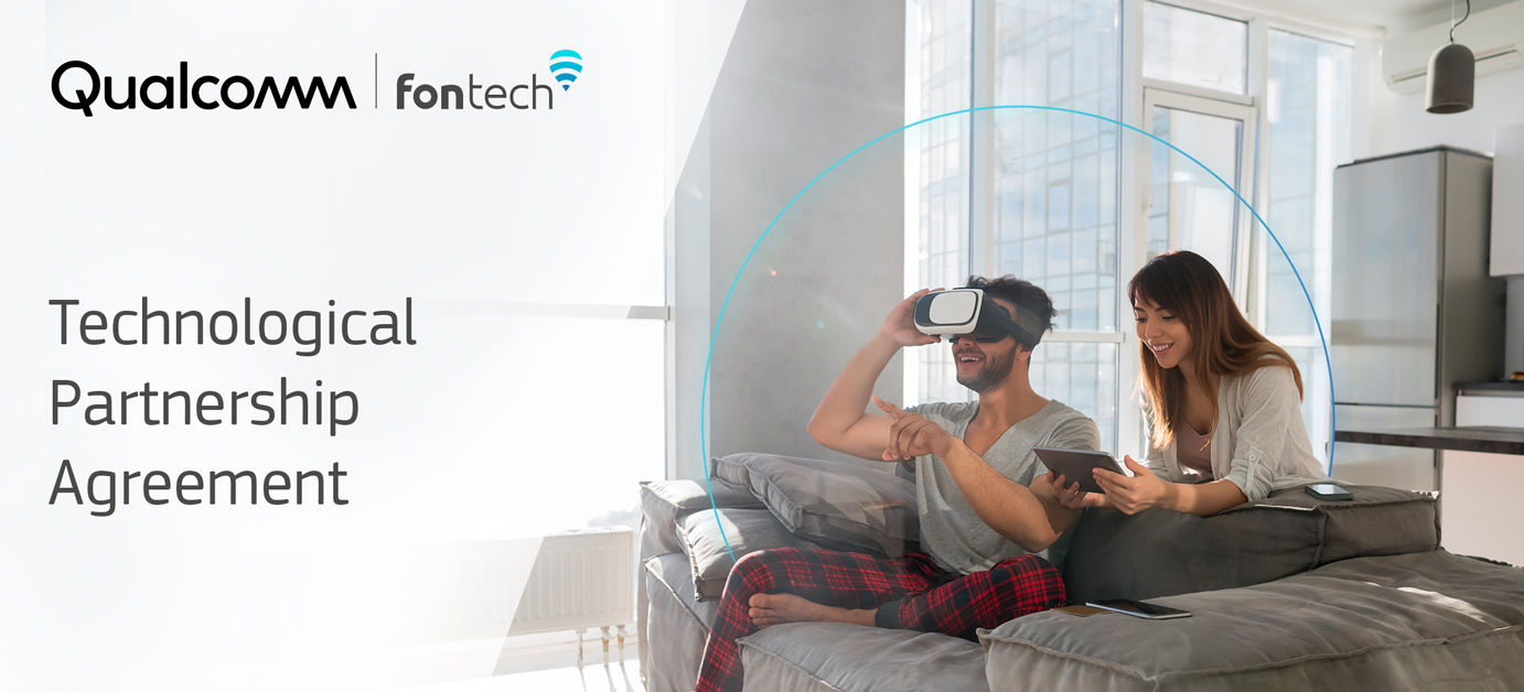 Photo of a couple using WiFi connected devices and experiencing a high level of service thanks to Fontech Home WiFi integration with Qualcomm