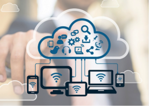 Image of many different devices connected to the cloud by WiFi